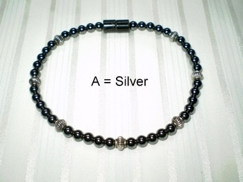 Woman Single 30.4: 4mm Black Magnetic Hematite with Silver Accents