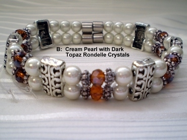 Woman Double 20.6 : Cream Pearl Magnetic Hematite + Dark Topaz Rondelle Crystals (B)