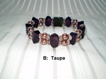 Woman Double 21.2: Amethyst Faceted Crystal + Round Taupe Magnetic Hematite Beads ((B)