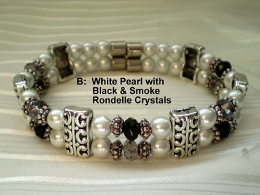Woman Double 20.3: White Pearl Magnetic Hematite, Black/Smoke Rondelle Crystals (B)