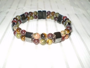 Woman Double 20.1: Half Moon Black Magnetic Hematite + Tri-Color Semi-Precious