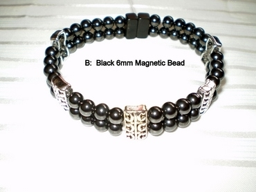 Woman Double 20.9: Black Magnetic Hematite Beads (B) + Spacer