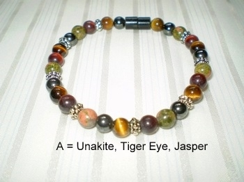 Woman Single 30.50: WARM TONES: Red Jasper + Unakite + Tiger Eye + Black Round Magnetic Hematite