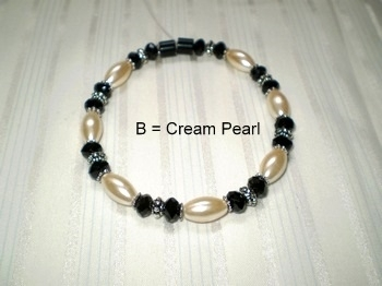 Woman Single 31.1: Black Crystal Rhondelle & Oval Pearl Magnetic Hematite