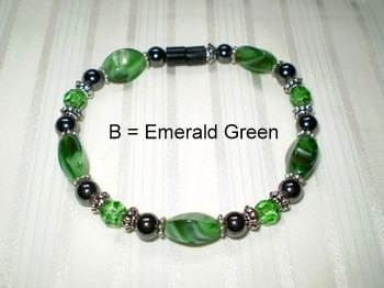 Woman Single 32.4: Emerald Green Twist + Faceted Crystal Glass Beads, Black Magnetic Hematite(B)
