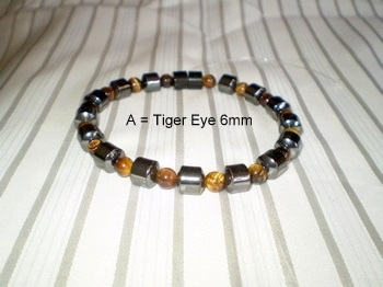 Men Single 1.3: Drum Black Magnetic Hematite + 6mm Tiger Eye Semi-Precious (A)