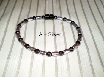Men Single 1.8: Faceted Silver Tube + 6mm Black Round - Magnetic Hematite Beads (A)