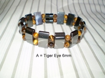 Men Double 2.90:  Black Rectangle Magnetic Hematite + 6mm Tiger Eye Semi-Precious (A)