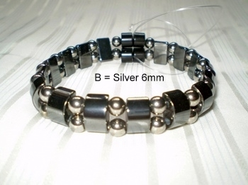 Men Double 2.2: Black Half Moon + 6mm Silver Round Magnetic Hematite Beads (B)