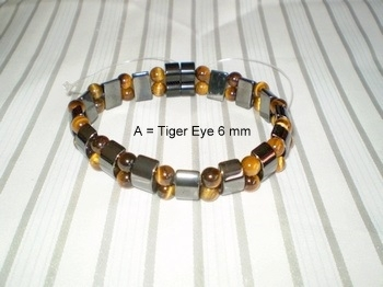 Men Double 2.3: Black Half Moon & 6mm Tiger Eye Semi-Precious Stones (A)