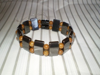 Men Double 2.91: Rectangle Black Magnetic Hematite Beads + 6mm Wood Grain Semi-Precious Beads (B)