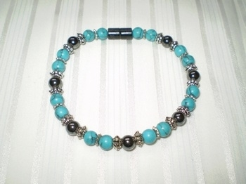 Woman Single 32.5: Turquoise Semi- Precious & Black Round Magnetic Hematite