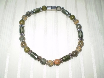 Woman Single 32.7: Olive Faceted Magnetic Hematite  + Unakite and 2 Jaspers Gemstones