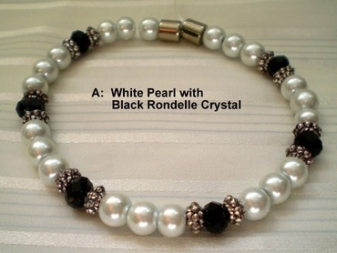 Woman Single 31.2: White Pearl Magnetic Hematite + Black Rondelle Crystals (A)