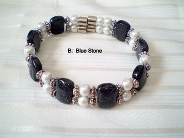 Woman Double 21.8: Pearl Magnetic Hematite + Bluestone