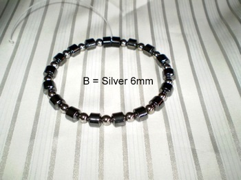 Men Single 1.2: Drum Black Magnetic Hematite + 6 mm Silver Round Magnetic Hematite (B)