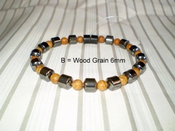 Men Single 1.4: Drum Black Magnetic Hematite + 6mm Brown Wood Malachite Semi-Precious (B)