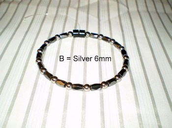 Men Single 1.6: Faceted Black Tube + 6mm Silver Round Magnetic Hematite
