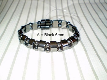 Men Double 2.1: Black Half Moon + 6mm Black Round Magnetic Hematite Beads (A)