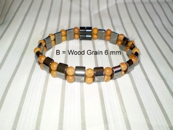 Men Double 2.4: Black Magnetic Half Moon Hematite Beads and 6 mm Wood Grain Semi-Precious Stones (B)