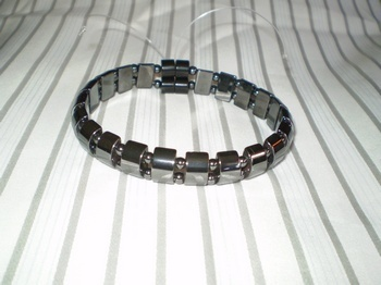 Men Double 2.5: Black Half Moon + 4mm Black Round Magnetic Hematite Beads