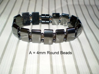Men Double 2.6: Rectangle Black + 4mm Black Round Magnetic Hematite Beads