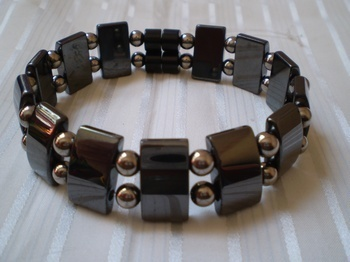 Men Double 2.8: Rectangle Black and 6mm Silver Round Magnetic Hematite Beads