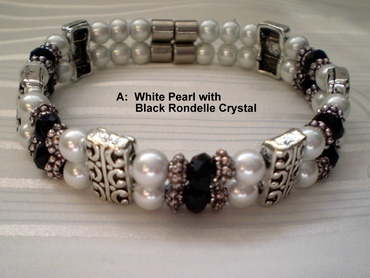 Woman Double 20.2: White Pearl Magnetic Hematite, Black Rondelle Crystals (A)