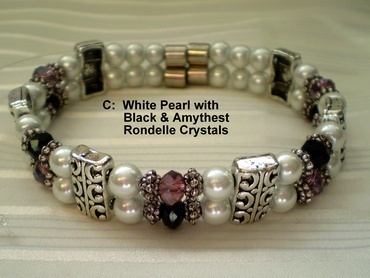 Woman Double 20.4: White Pearl Magnetic Hematite, Black/Amethyst Rondelle Crystals (C)