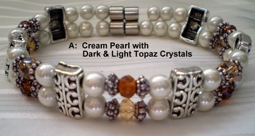 Woman Double 20.5: Cream Pearl Magnetic Hematite + Dark and Light Topaz Rondelle Crystals (A)