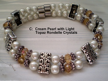 Woman Double 20.7 : Cream Pearl Magnetic Hematite + Light Topaz Rondelle Crystals (C)