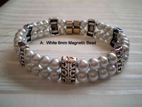 Woman Double 20.8: White Magnetic Hematite Round Beads + Spacer
