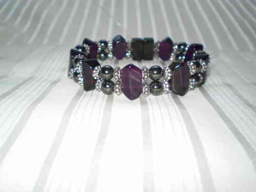 Woman Double 21.3: Amethyst Faceted Crystal + Round Black Magnetic Hematite Beads (C)