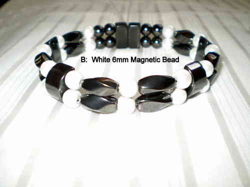Woman Double 21.5: Black Twist Magnetic Hematite and Pearl Round Magnetic Hematite Beads (B)