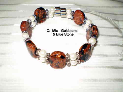 Woman Double 21.9: Pearl Round Magnetic Hematite + Goldstone/Bluestone Blend Semi-Precious