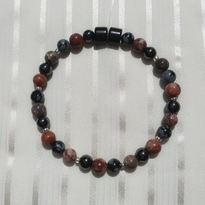 Woman Single 30.61: COOL TONES:  Red/Grey Jaspers (2) + Snowflake Obsidian + Black Magnetic Hematite