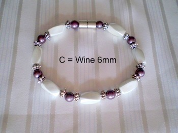 Woman Single 30.9: Twist White + Wine Round Magnetic Hematite Beads