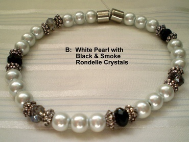 Woman Single 31.3: White Pearl Magnetic Hematite + Black and Smoke Rhondelle Crystals (B)
