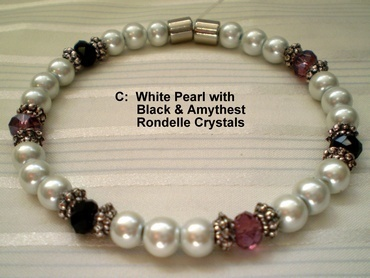 Woman Single 31.4: White Pearl Magnetic Hematite + Black and Amethyst Rhondelle Crystals (C)