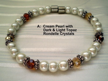 Woman Single 31.5: Cream Pearl Magnetic Hematite + Dark and Light Topaz Rondelle Crystals
