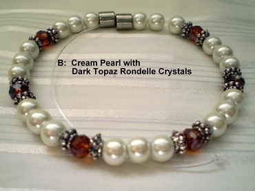 Woman Single 31.6: Cream Pearl Magnetic Hematite + Dark Topaz Rondelle Crystals (B)
