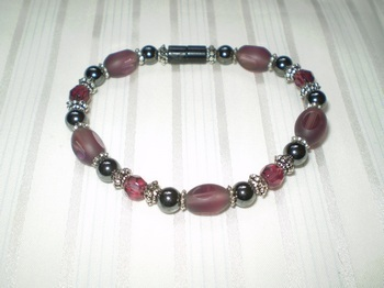 Woman Single 32.2: Amethyst Rice and Faceted Crystals + Black Round Magnetic Hematite