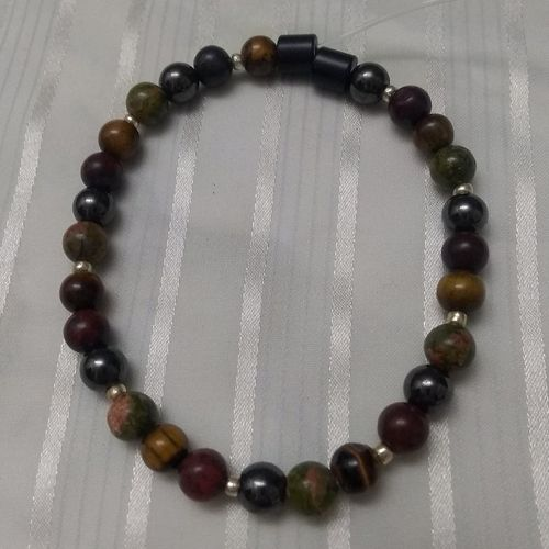 Woman Single 30.60: WARM TONES:  Jasper + Unakite + Tiger Eye + Black Round Magnetic Hematite