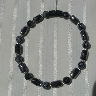 Woman Single 36.41: Snowflake Obsidian   + Hex  Magnetic Hematite