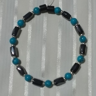 Woman Single 36.81: Turquoise  + Hex  Magnetic Hematite